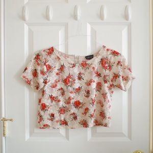 TopShop Floral Lace Crop Top